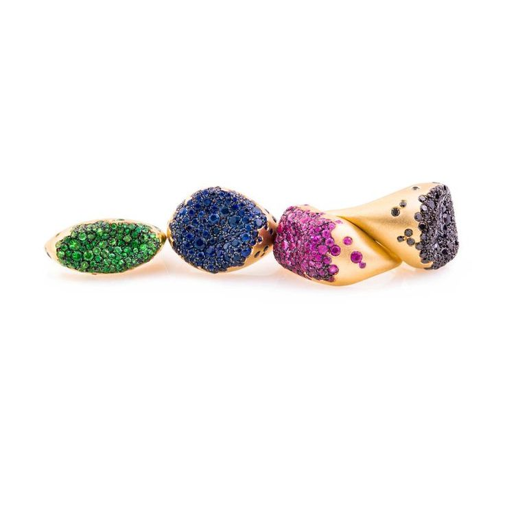 The Nada G Baby Malak collection of pinky rings are available with a range of colourful gemstones including green tzavorites, blue or pink sapphires, or black diamonds