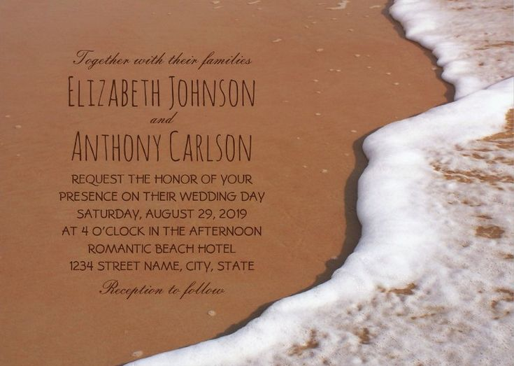 Ocean Sand Wave Beach Themed Wedding Invitations. Elegant destination, coastal, rustic beach wedding invitations. Feature unique trendy typography beautiful wave foam and beach sand. A romantic invitation perfect for beach themed, destination, nautical, Hawaiian or tropical weddings. This creative wedding invitation is fully customized. Start with ordering your first sample. More at http://superdazzle.com