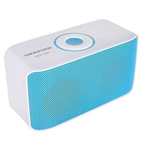 Bluetooth Speakers IWAVION Wireless Portable Speaker Super Bass with Dual Drivers Sound Loud Music Player Build-in Mic Compatible with iPhone/iPad/Android Smart phones and more(Blue)