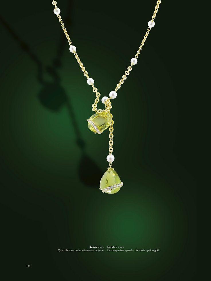 Erik Schaix, bijoux d'un couturier, sautoir en or jaune, perles de rivière, Quartz lemon
