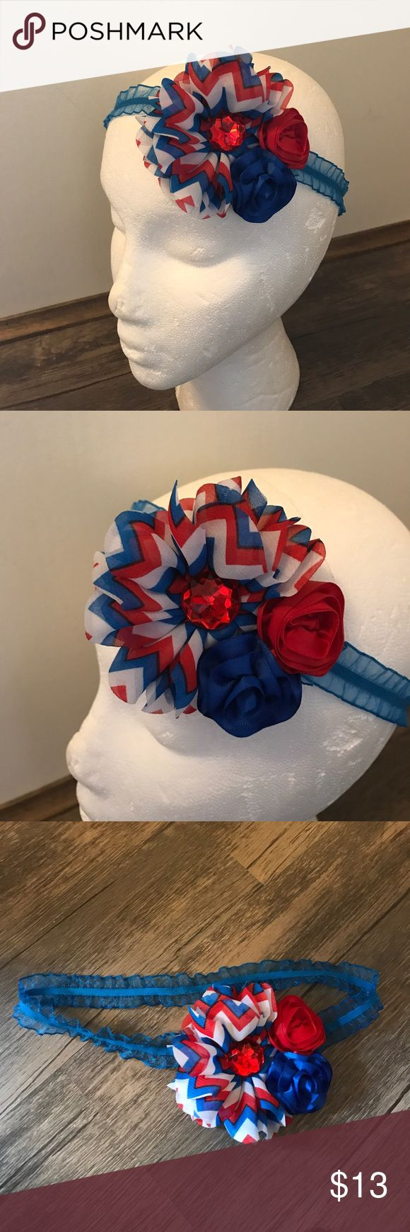 Last Chance - Red White and Blue Floral Headband Worn once by my daughter when she was about 2 or 3. Elastic band. Measurement is laying flat unstrectched. 4th of July Headband Boutique Accessories Hair Accessories