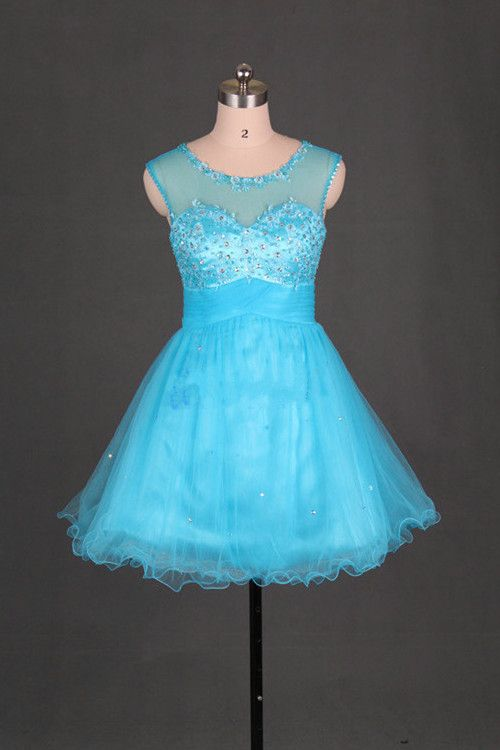 99.00$  Watch now - http://vilae.justgood.pw/vig/item.php?t=laqzlr649445 - Scoop Short Light Turquoise Tulle Homecoming Dress, H5064 99.00$