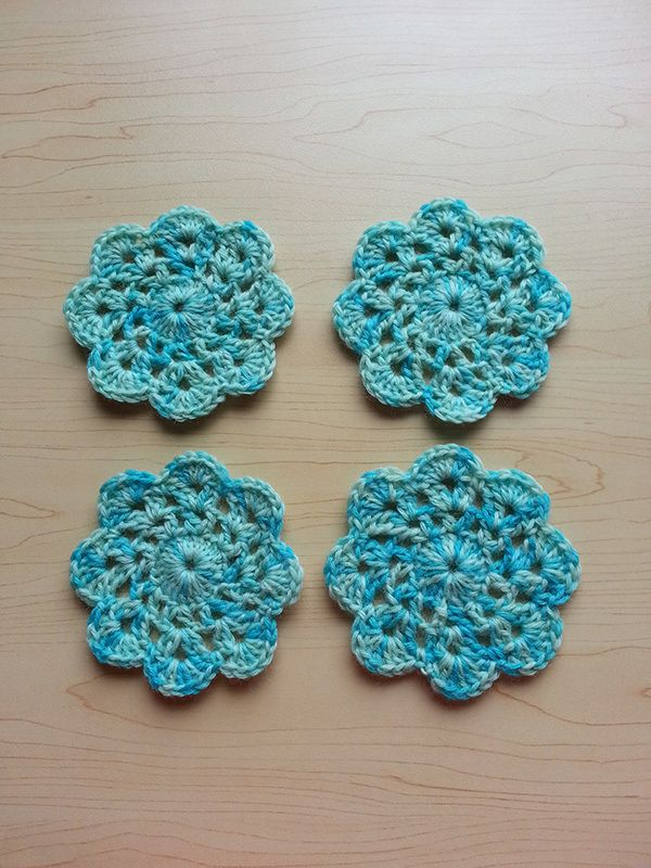 Hand Dyed Crochet Coasters - Turquoise £8.50