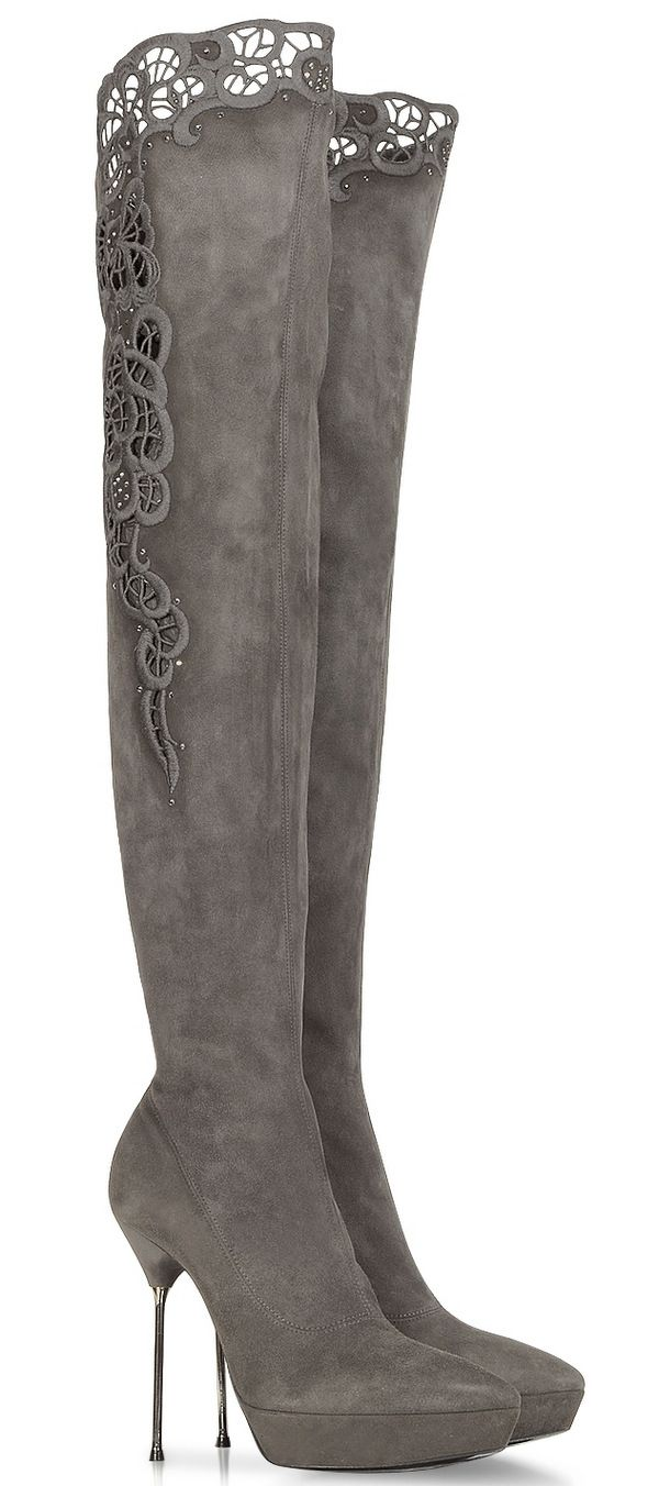 these boots are made for walking | Loriblu Gray Suede Platform Boot