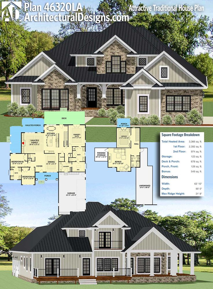 Architectural Designs Craftsman House Plan 46320LA Gives You Over 3,300+  Square Feet Of Heated Living