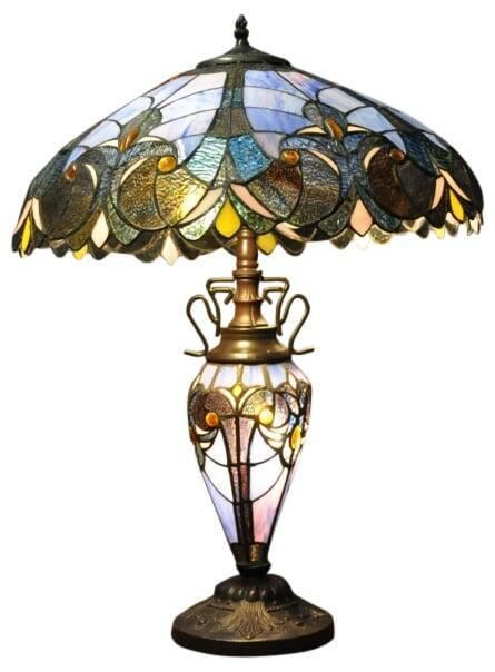 Details About Electric Table Lamp Shade 3 Bulb Glass Effect Finish