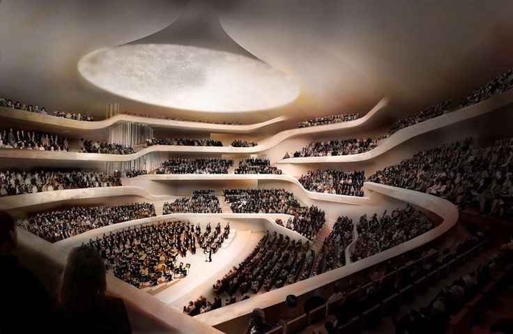 The Elbphilharmonie's Grand Hall has an orchestra pit in the middle and tiered seating for up...