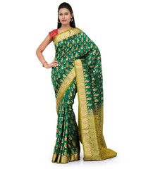Green Art Silk Saree with Meena Work | Fabroop USA | $64.79 |