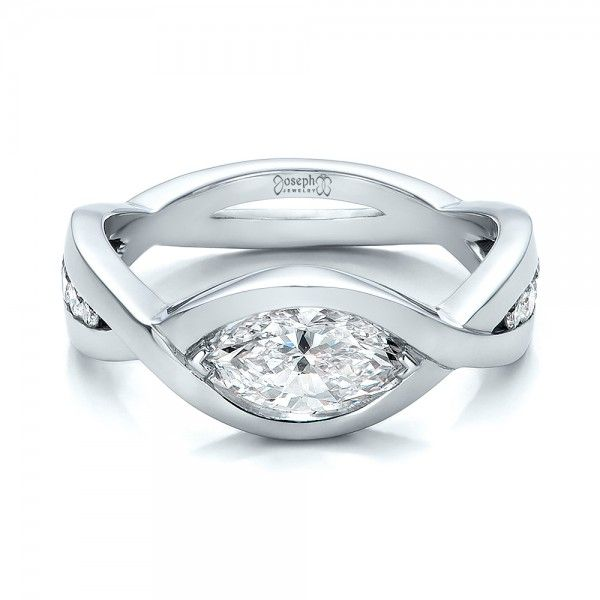 100824 This Elegant Engagement Ring Features A Marquise Shaped Diamond Chevron Set In White Ringsdiamond Ringswedding