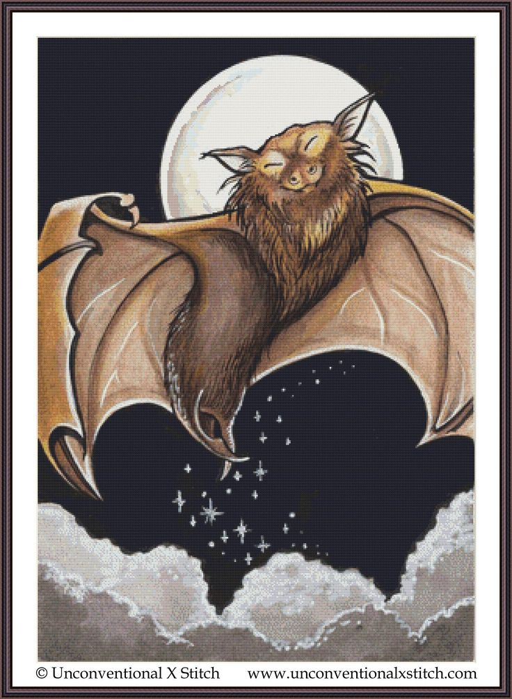 Animal bat cross stitch pattern, modern counted cross
