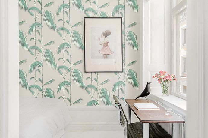 My home for sale. Palm tree wallpaper by Cole & Son
