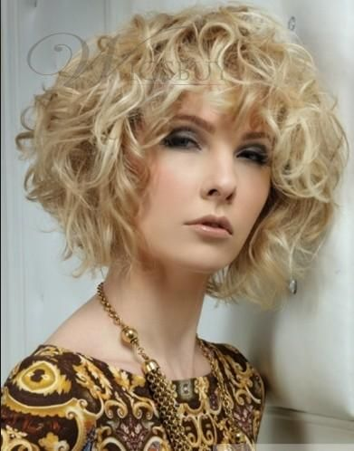 100 Human Hair New Fashion High Quality Special Cool Medium Curly Blonde Wig About 10 Inches