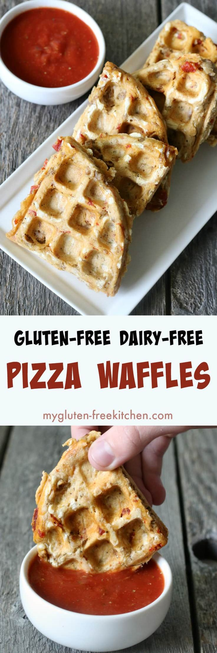 Gluten-free Dairy-free Pizza Waffles Recipe. Free of top 8 allergens too! Fun lunch idea!