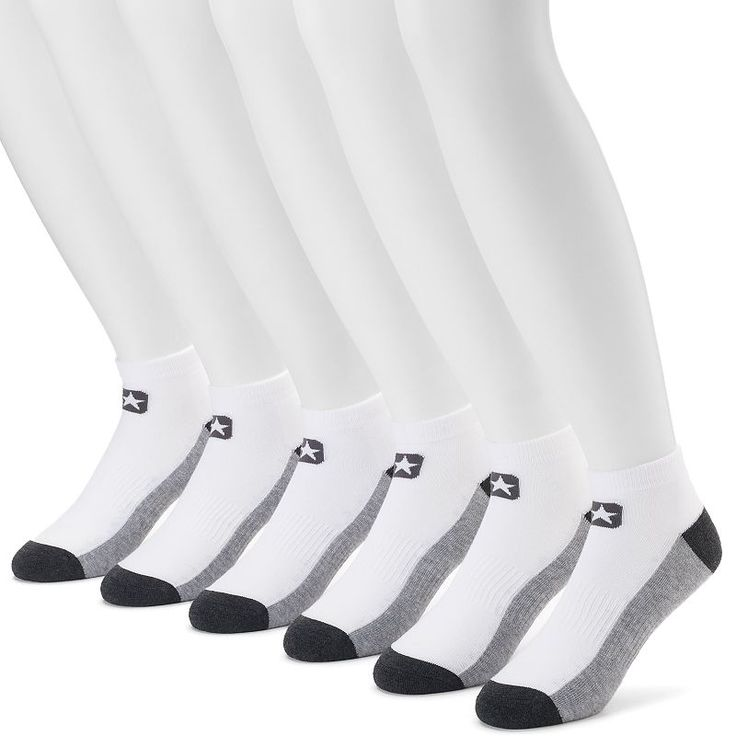 Men's Converse 6-pack Cushioned Low-Cut Socks, Size: 10-13, White