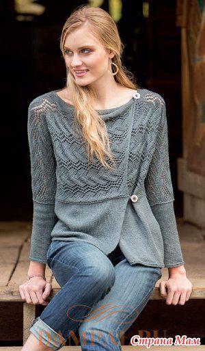 """Ажурный кардиган имеет нетрадиционную конструкцию и элегантную драпировку.  Описание кардигана от дизайнера Romi Hill переведено из журнала """"The Knitter"""".  Размеры:  S (M, L, XL, 2XL)"""