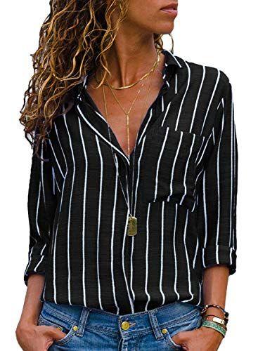 f9c6019dd915 AitosuLa Chemisier Femme Blouse Rayures Col V Casual Mode Tunique Haut Top  Shirt Manche Longue Rayures Noir Blanc S