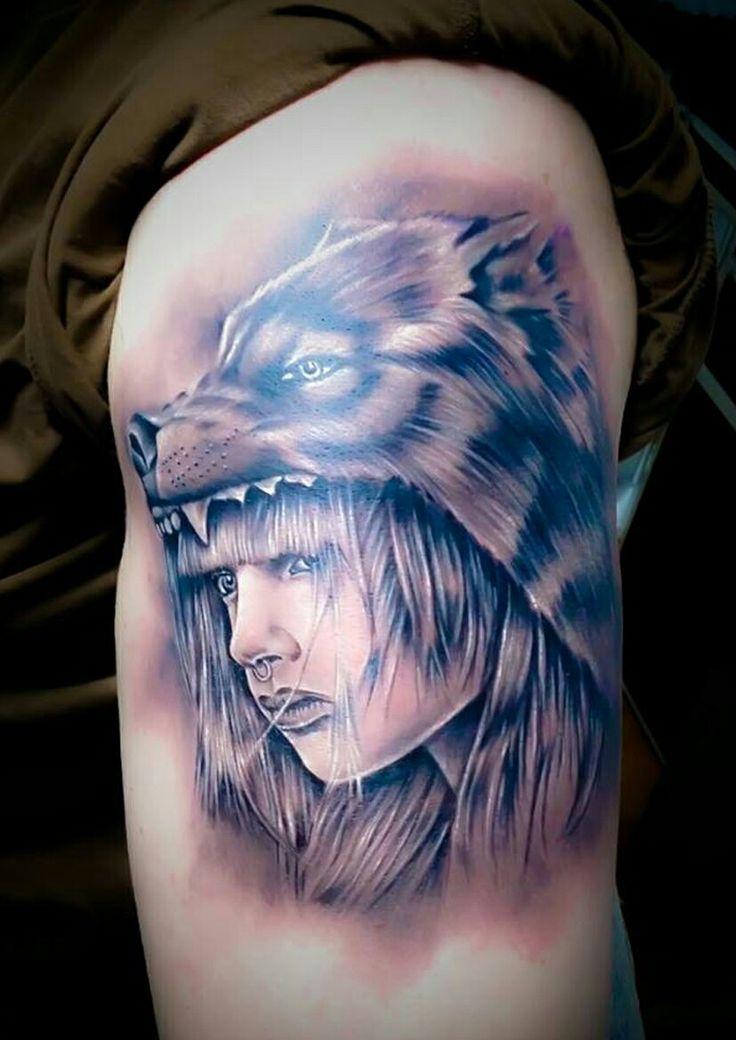 Fantasy girl, Warrior girl, Wolf on head