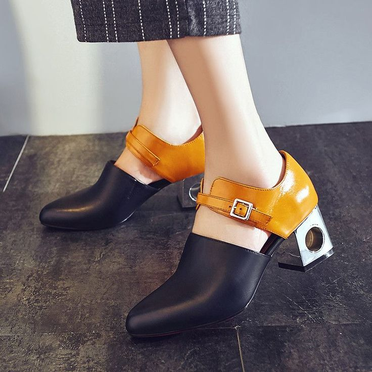 Price tracker and history of 2016 Chic Pretty Women Shoes Pointy Toe Buckle Match  Color Fashion Shoes Chunky Heel Pumps Shaped Heel Shoe