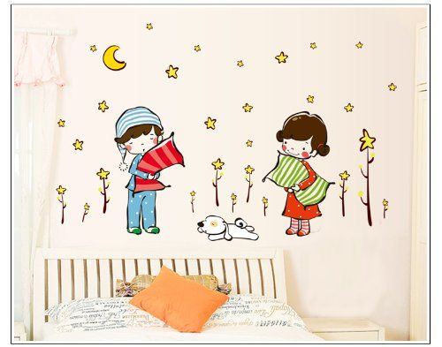 New Design Girl and Boy in Pajamas Holding Pillows under Moon and Stars Wall Decal Nursery Room Decor