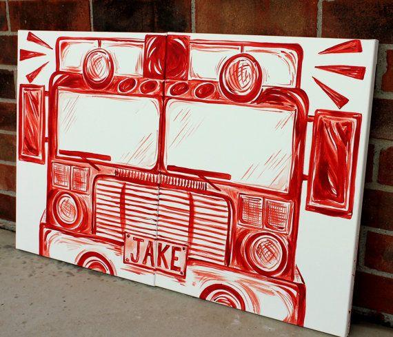 BIG red fire truck art . 20×32 . modern art on canvas . hand painted original . engine . bedroom decor . sincerelyYOU . art by melanie