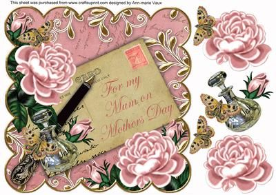 Pink Roses Mum on Mothers Day 8in Decoupage Topper on Craftsuprint - Add To Basket!