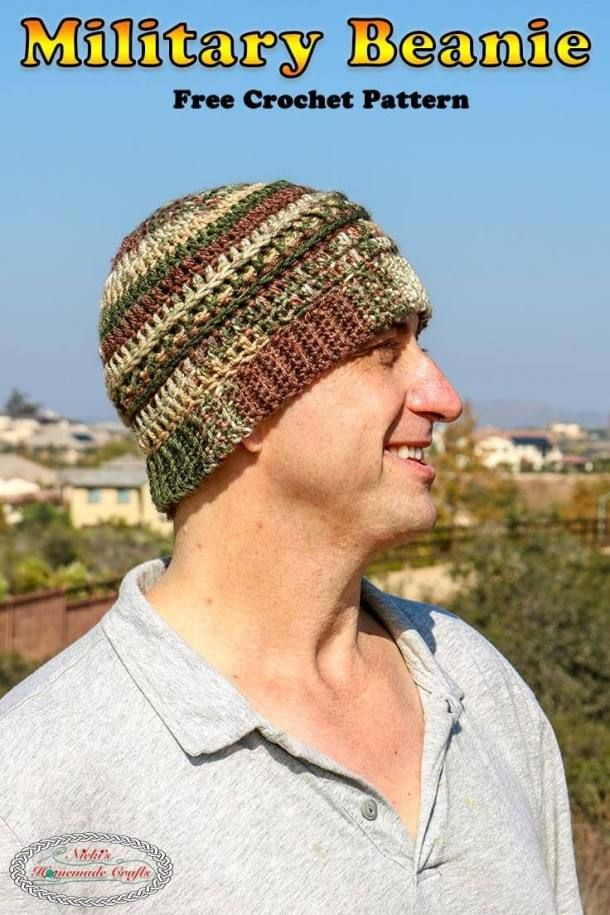 32aa30dc26b Learn how to crochet the Military Beanie with camouflage yarn colors  whether it is for a Veteran