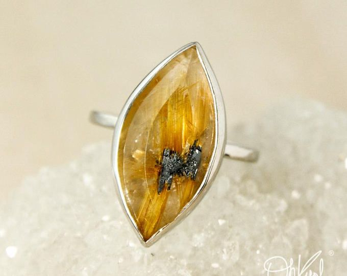 Natural Golden Rutile Quartz Ring - Leaf Ring - Autumn Statement Ring