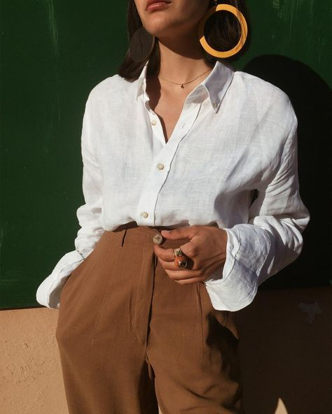 simple outfit with a linen blouse