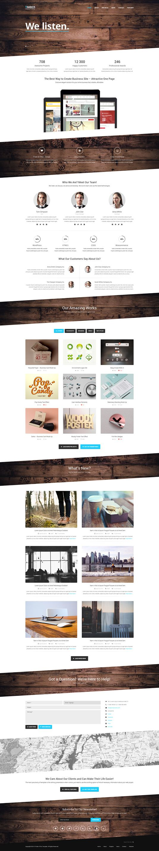 TIMBER FREE ONE PAGE BOOTSTRAP TEMPLATE