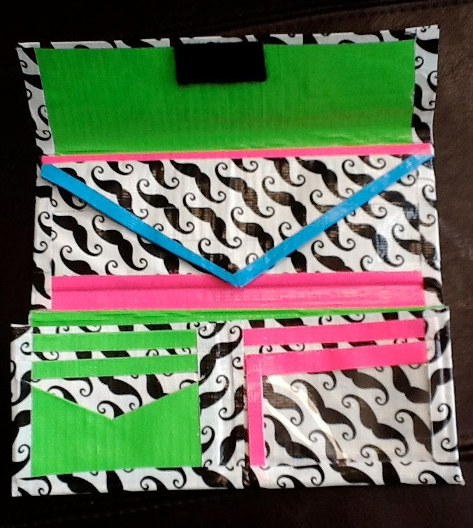 Mustache duct tape wallet ... I like the idea of this layout