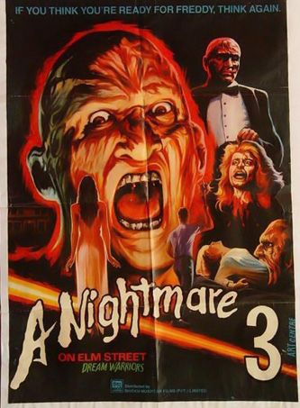 A Nightmare On Elm Street 3: Dream Warriors Movie Poster! Buy the Original VHS at http://www.discounthorrormovies.com/a-nightmare-on-elm-street-3-dream-warriors-vhs/