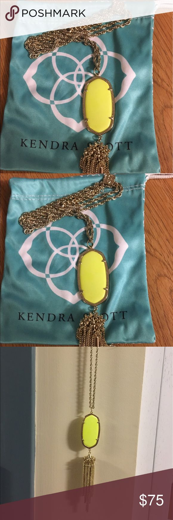 RARE Neon Yellow Kendra Scott Rayne Necklace RARE!!! Not sold in Kendra Scott stores or online! Immaculate condition, worn twice and kept in dust bag. Comes with the original Kendra Scott dust bag. Kendra Scott Jewelry Necklaces