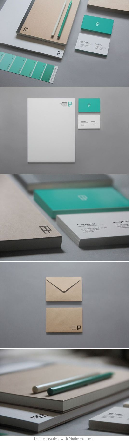 placement on letterhead and envelopes. Branding of Homepolish interior designers by Leo Porto, New York