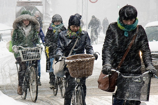 Bicycle is the way to get around, even in snow.: February Traffic, Cycling Crazy, Bicycles Style, Cycling Trends, Bike Highway, Bike Girls, Cycling Chic, Bike Inspiration, Copenhagen February