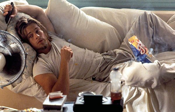 A young Brad Pitt as Floyd - Dick's Roommate in True Romance