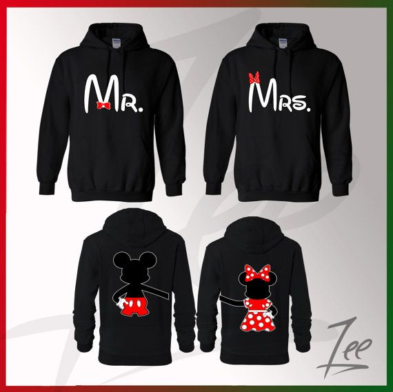 Gift Idea for Him & I!! Couple Matching Mickey Mouse Mr Minnie Mrs Hoodies by AMYnZEE
