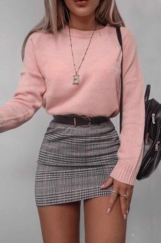Plaid Skirt With Pink Sweater #plaidskirt #miniskirt Cute casual back to school… – All Niche