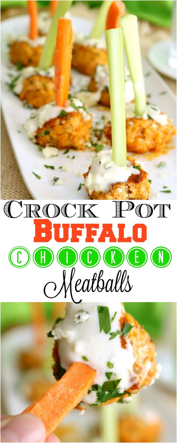 Buffalo Chicken wings are a favorite American appetizer or meal. So when I decided to turn them into a fun party snack, I knew they would be an instant hit. Hot wings are a very popular but serving them for a crowd just isn't economical. Now I can offer my guests the same great flavor of Buffalo wings in an incredibly easy crock pot version. Crock Pot Buffalo Chicken Meatballs are on the menu today. So let's dig in!
