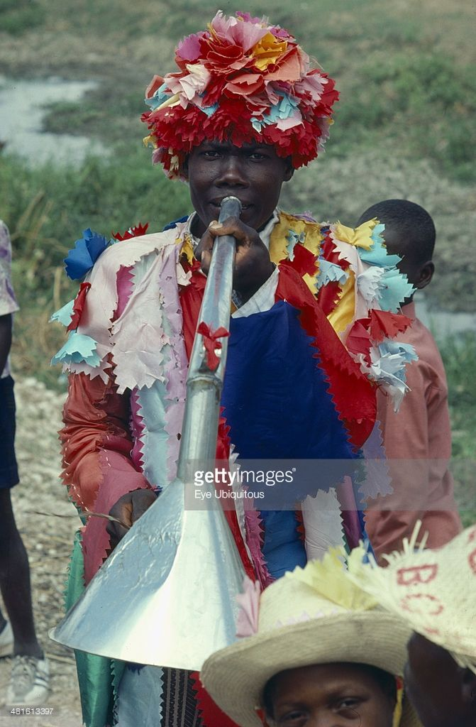 Haiti, Religion, Voodoo priest at Ra Ra dance. The Voodoo years comes to a climax at Lent and Easter.