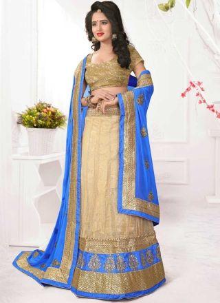 Beige Blue Embroidery Work Net Chiffon Fancy Designer Wedding Lehenga Choli http://www.angelnx.com/Lehenga-Choli/Designer-Lehenga-Choli