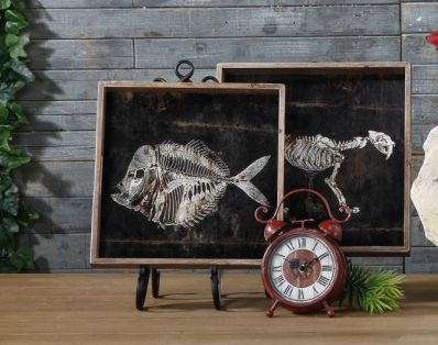 Something a little different, our prehistoric designer aluminium and wooden trays.