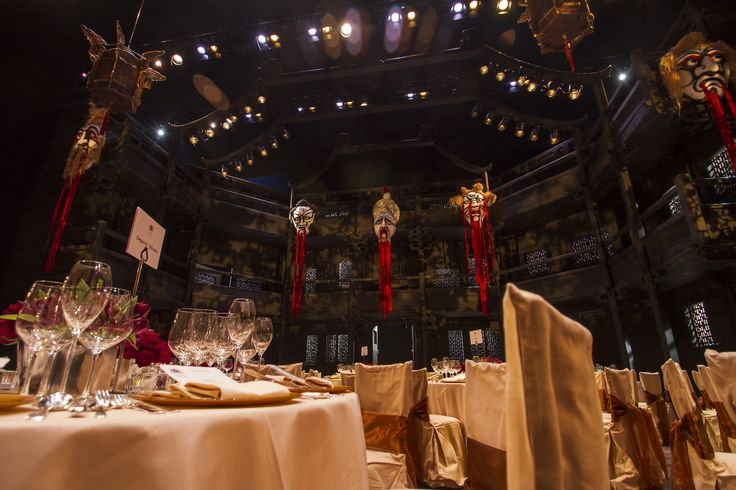Guests dine right on the stage, amid the set, under the lights. In this case it is Andrei Serban's staging of Puccini's final opera, Turandot, at the Royal Opera House during the Autumn 2013/14 season.