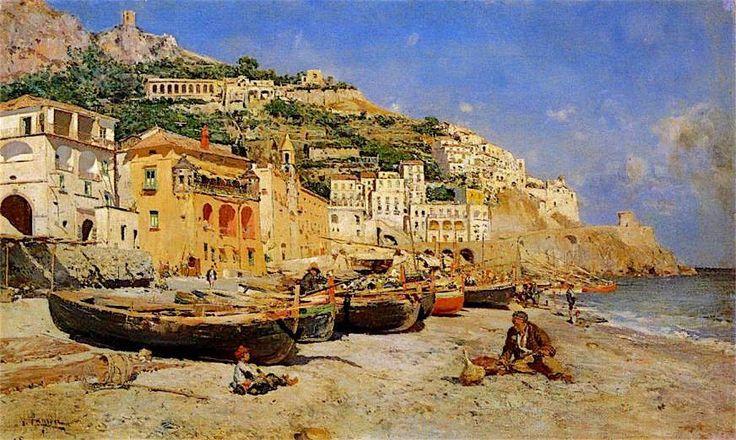 Vincenzo Caprile (Napoli, 1856-1936) Veduta di Amalfi con barche di pescatori
