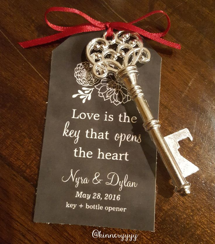wedding favors, key bottle opener, chalkboard tag, love is the key that opens the heart
