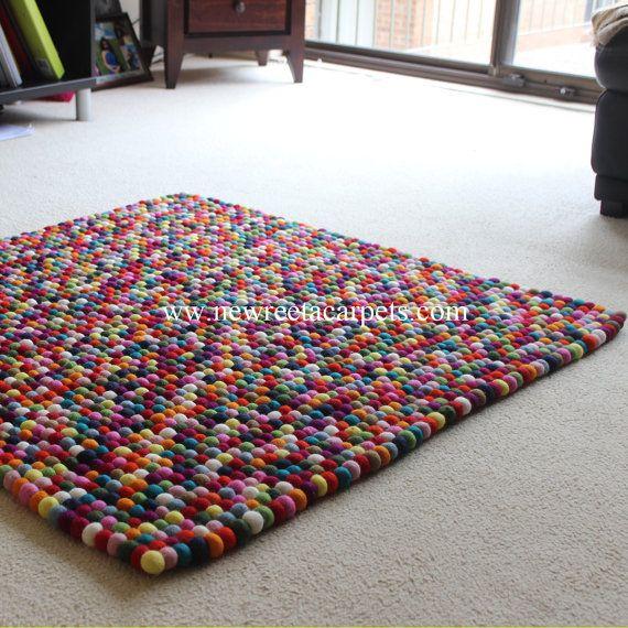 Rectangle Felt Ball Rug Multicoloured Hand by NewReetaCarpets