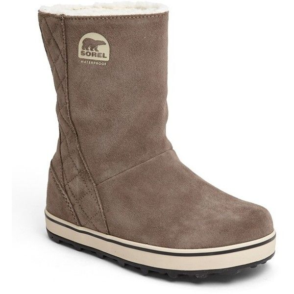 SOREL 'Glacy' Waterproof Boot Womens Saddle/ Fossil 7 M