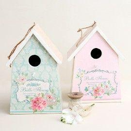 Casita pájaros de madera motivos florales