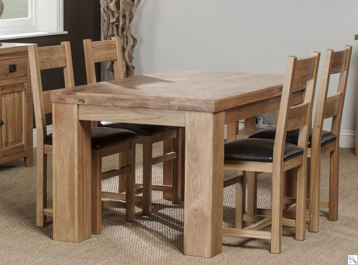 Oregan 150cm Chunky Solid Oak Table With 4 Oakland Chairs
