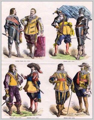 Duitse adel.  17e eeuwse barokke kostuums.  Duitse soldaten uniformen.  Fleming Prinselijk Kostuums