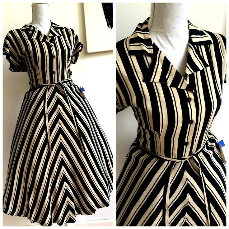 40s 50s - DEADSTOCK NWT -  Striped Rayon Belted Dress - W28 (72cm), €120